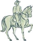La cavalleria comanda a Riding Horse Etching Fotografia Stock Libera da Diritti