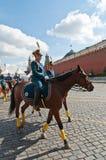 La cavalleria presidenziale russa del reggimento accompagna lo squadrone Fotografie Stock Libere da Diritti
