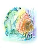 La caverne mystérieuse de cristal de quartz les explorent Photo libre de droits