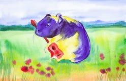 La cavia porpora gialla gioca una chitarra rossa in un campo russo dell'estate pura con i fiori rossi Illustrazione comica dell'a immagine stock