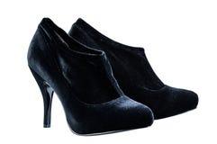 La caviglia di autunno del ` s delle donne inizializza i talloni medii neri, isolati Fotografia Stock
