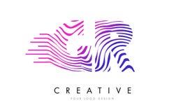 La cebra de GR G R alinea la letra Logo Design con colores magentas Fotografía de archivo