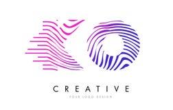 La cebra del knock-out K O alinea la letra Logo Design con colores magentas ilustración del vector