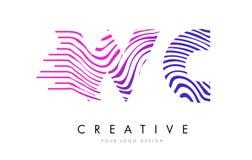 La cebra del WC W C alinea la letra Logo Design con colores magentas Imágenes de archivo libres de regalías