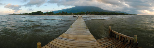 La Ceiba Honduras. Panoramic view On the Quay of the La ceiba beach, Hoduras stock photo