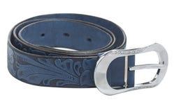 La ceinture en cuir des femmes bleues, d'isolement Photos stock