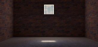 La celda de prisión con el brillo ligero a través de una ventana barrada 3D rinde stock de ilustración