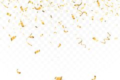 La celebración brillante descendente del confeti del brillo del oro, serpentea aislado en fondo transparente Año Nuevo, cumpleaño stock de ilustración