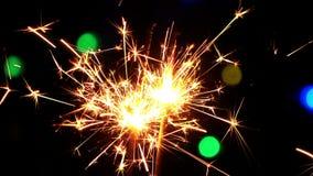 La celebración chispea quema y las luces almacen de metraje de vídeo