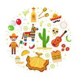 La celebración de Cinco de Mayo en México, iconos fijó en la forma redonda, elemento del diseño, estilo plano Ilustración del vec Fotografía de archivo libre de regalías