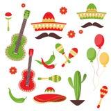 La celebración de Cinco de Mayo en México, iconos fijó, elemento del diseño, estilo plano ilustración del vector