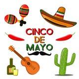 La celebración de Cinco de Mayo en México, iconos fijó, elemento del diseño, estilo plano Objetos collectiones para el desfile de stock de ilustración