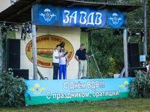 La celebración de un día de fiesta militar ruso - el día de fuerzas aerotransportadas el 2 de agosto de 2016 en el registro de Kr Imagen de archivo libre de regalías