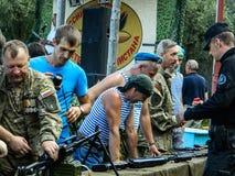 La celebración de un día de fiesta militar ruso - el día de fuerzas aerotransportadas el 2 de agosto de 2016 en el registro de Kr Fotografía de archivo libre de regalías