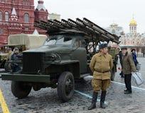 La celebración del desfile histórico el 7 de noviembre de 1941 en cuadrado rojo en Moscú Foto de archivo