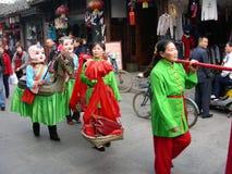 La celebración tradicional de la boda en China imagenes de archivo