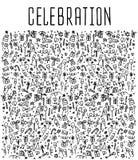 La celebración, feliz cumpleaños garabatea elementos Imagen de archivo libre de regalías