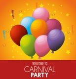 La celebrazione benvenuta del partito di carnevale balloons le stelle Fotografie Stock Libere da Diritti