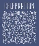 La celebrazione, buon compleanno scarabocchia gli elementi Fotografie Stock Libere da Diritti