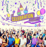 La celebrazione celebra il concetto del sociale di evento di anniversario immagini stock libere da diritti