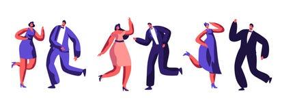 La celebrazione del partito ballante si è agghindata la gente adulta royalty illustrazione gratis