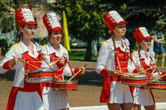 La celebrazione di Victory Day nella guerra mondiale 2 può 9, 2016, nella regione di Homiel'della Repubblica Bielorussa Fotografie Stock