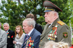 La celebrazione di Victory Day nella guerra mondiale 2 può 9, 2016, nella regione di Homiel'della Repubblica Bielorussa Fotografia Stock