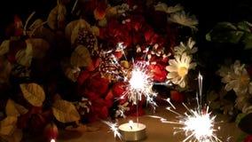 La celebrazione esamina in controluce le scintille ed i fiori stock footage