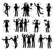 La celebrazione posa la raccolta delle siluette nere illustrazione vettoriale