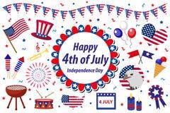 La celebrazione in U.S.A., icone dell'America di festa dell'indipendenza ha messo, elemento di progettazione, stile piano Oggetti illustrazione vettoriale