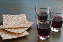 La cena del ` s del señor con pan y vino fotografía de archivo libre de regalías