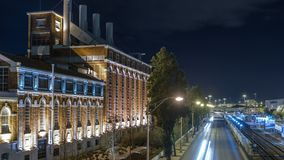 La central eléctrica del siglo XIX dio vuelta en timelapse del museo de la electricidad en Lisboa, Portugal metrajes