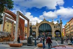 La centrale di Mercado è il mercato più famoso a Saragozza, Spagna fotografia stock libera da diritti