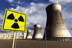La centrale nucléaire 3D réaliste rendent avec le rea illustration stock