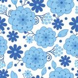 La cerámica de Delft Holanda azul florece el modelo inconsútil Fotografía de archivo libre de regalías