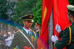 La ceremonia china de la bandera nacional Foto de archivo libre de regalías