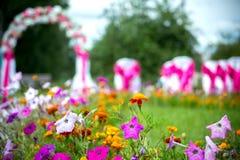 La ceremonia de boda, arco de la boda, flores, jardín, flores en foco Imagen de archivo libre de regalías