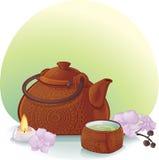 La ceremonia de té con una tetera y una orquídea de cerámica florece Ilustración del Vector
