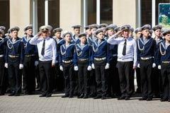 La ceremonia militar en el cuerpo del cadete del mar, Rusia Foto de archivo
