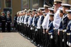La ceremonia militar en el cuerpo del cadete del mar, Rusia Imagen de archivo libre de regalías