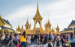 La ceremonia real de la cremación de su rey Bhumibol Adulyadej de la majestad a abrirse en el público en Sanam Luang Bangkok Imágenes de archivo libres de regalías