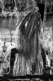 La ceremonia tradicional de la adoración de antepasado Tribu de Asmat Imagen de archivo