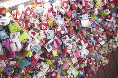 La ceremonia y la moneda de la llave del amor binoculares Foto de archivo libre de regalías