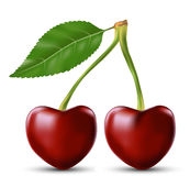 La cereza dos le gusta el corazón Fotografía de archivo