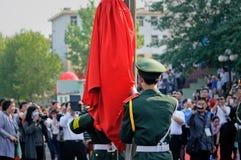 La cerimonia cinese della bandiera nazionale Fotografie Stock