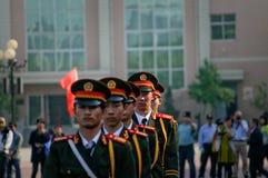 La cerimonia cinese della bandiera nazionale Fotografia Stock