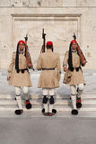 La cerimonia della guardia della costruzione greca del Parlamento Immagini Stock Libere da Diritti