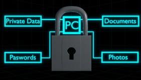 La cerradura 3D de la seguridad informática rinde Imagen de archivo libre de regalías