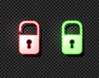 La cerradura de neón del vector y desbloquea los iconos, muestras luminosas brillantes aisladas libre illustration