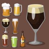 La cervecería del refresco del ejemplo del vector de la cerveza del alcohol y el arte escarchado de la taza oscura de la bebida d stock de ilustración